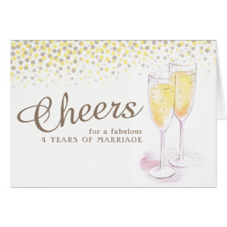 Champagne glass 4th wedding anniversary art card