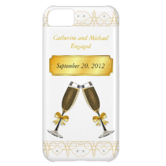 Champagne Glass Gold Wedding or Engagement Date iPhone 5C Case