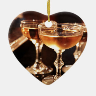 champagne glass golden toast ceramic ornament