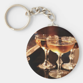 champagne glass golden toast key ring