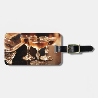 champagne glass golden toast luggage tag