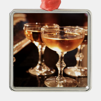 champagne glass golden toast metal ornament