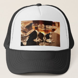 champagne glass golden toast trucker hat