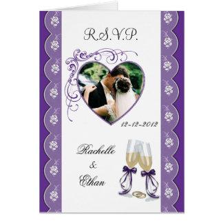 Champagne Glass Wedding Photo RSVP Notecard pl