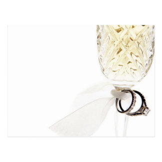 Champagne Glass Wedding Rings Postcard