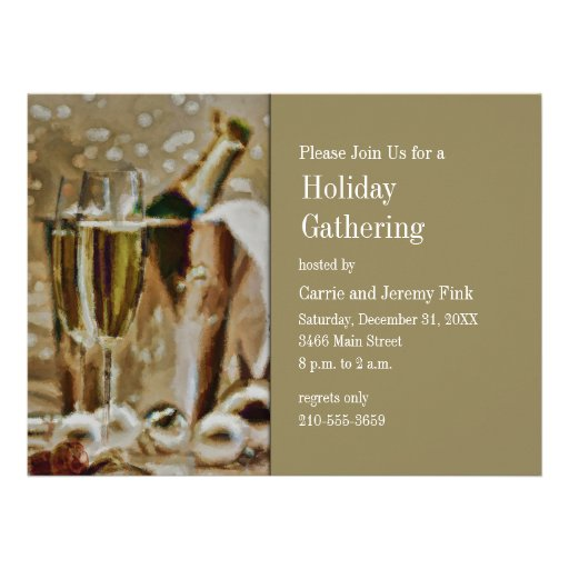 Champagne Glasses and Bucket Holiday Party Custom Invitation