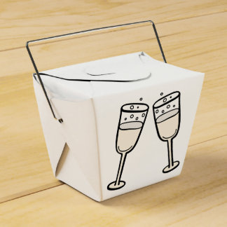 Champagne Glasses Black And White Wedding Party Party Favour Boxes