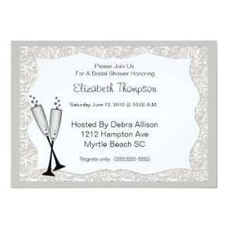"Champagne Glasses Bridal Shower Invitation 5"" X 7"" Invitation Card"
