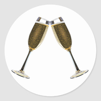 Champagne Glasses Celebration Classic Round Sticker