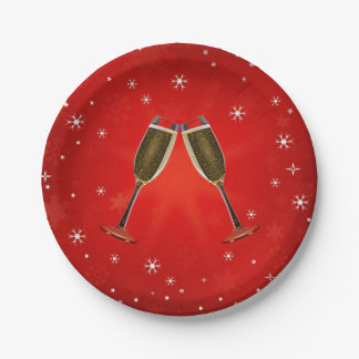 Champagne Glasses Celebration Gold on Red Paper Plate