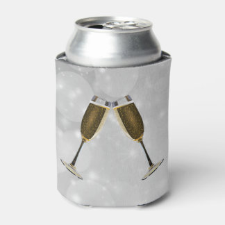 Champagne Glasses Celebration Gold on Silver Can Cooler