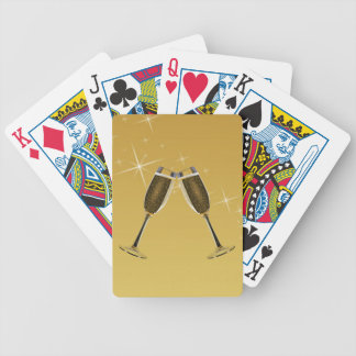 Champagne Glasses Celebration on Gold Bicycle Playing Cards