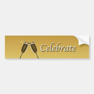 Champagne Glasses Celebration on Gold Bumper Sticker