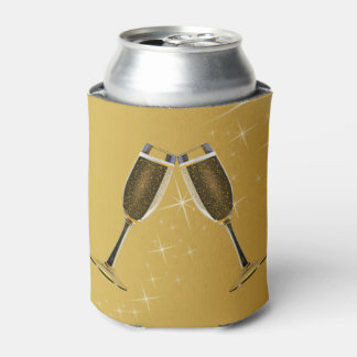 Champagne Glasses Celebration on Gold Can Cooler