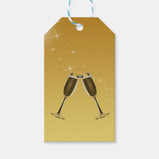 Champagne Glasses Celebration on Gold Gift Tags