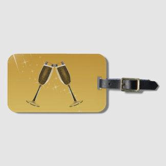 Champagne Glasses Celebration on Gold Luggage Tag