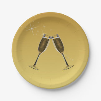 Champagne Glasses Celebration on Gold Paper Plate