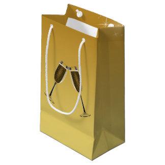 Champagne Glasses Celebration on Gold Small Gift Bag