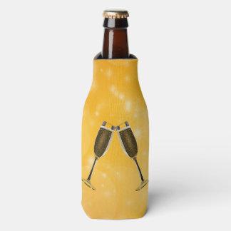 Champagne Glasses Celebration on Sparkling Gold Bottle Cooler