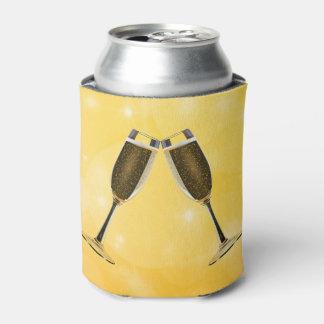 Champagne Glasses Celebration on Sparkling Gold Can Cooler