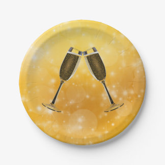 Champagne Glasses Celebration on Sparkling Gold Paper Plate