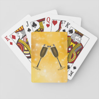 Champagne Glasses Celebration on Sparkling Gold Playing Cards