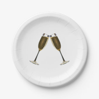 Champagne Glasses Celebration Paper Plate