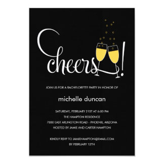 Champagne Glasses Engagement or Bachelorette Party 5x7 Paper Invitation Card