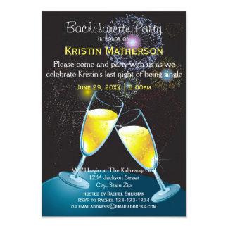 Champagne Glasses Fireworks-3x5 Bachelorette Party 9 Cm X 13 Cm Invitation Card