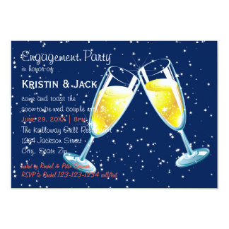 Champagne Glasses Night - Engagement Party Card