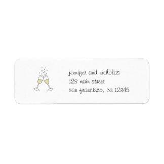 champagne glasses return address sticker