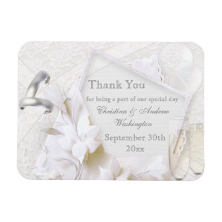 Champagne Glasses & Rings Thank You Wedding Favor Rectangular Magnets