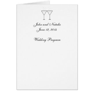 """Champagne Glasses"" Wedding Program Greeting Card"