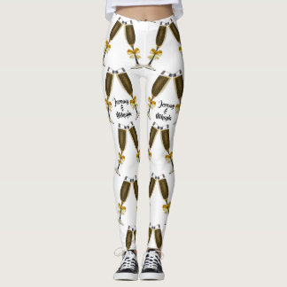Champagne glasses with Golden Bows Leggings