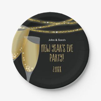 Champagne & Glitter Strings | New Year's Eve Party Paper Plate