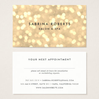 Champagne Gold Bokeh Appointment Card