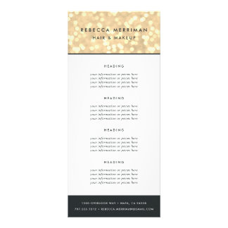 Champagne Gold Bokeh   Pricing or Services Rack Card