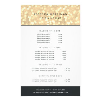 Champagne Gold Bokeh Pricing & Services Flyer