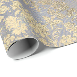 Champagne Gold Floral Blue Burlap Linen Wrapping Paper