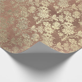 Champagne Gold Floral Skinny Burlap Linen Wrapping Paper
