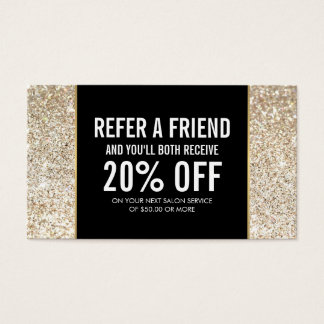 Champagne Gold Glitter and Glamour Referral Card