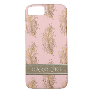 Champagne Gold Glitter Boho Feathers Blush Pink iPhone 8/7 Case