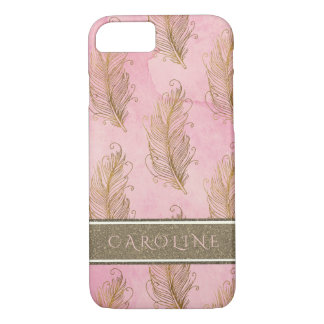 Champagne Gold Glitter Boho Feathers Watercolor iPhone 8/7 Case