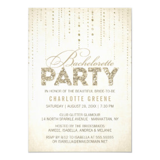 Champagne Gold Glitter Look Bachelorette Party 13 Cm X 18 Cm Invitation Card