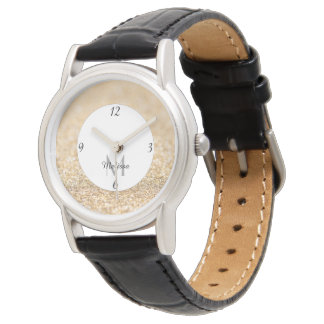 Champagne gold glitter sparkles Monogram Watch