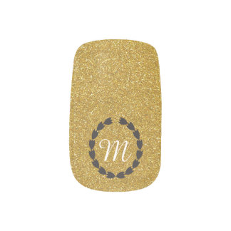 Champagne Gold Glitter with customizable Monogram Minx Nail Art