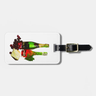 Champagne, grapes and cheese art bag tag