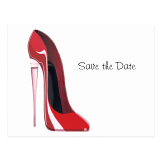 Champagne Heel Flute Red Stiletto Art Postcard