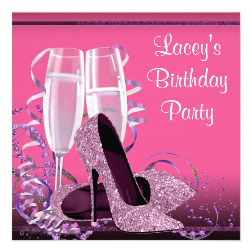 Champagne High Heel Womans Hot Pink Birthday Party Custom Announcements
