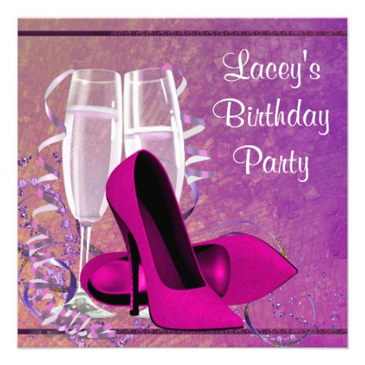 Champagne High Heel Womans Hot Pink Birthday Party Announcement